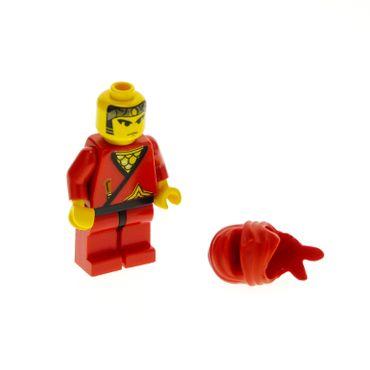 1 x Lego System Figur Ninja Mann Red Torso rot bedruckt Dolch Stern gold Kimono Ninja Maske Tuch Kapuze cas050