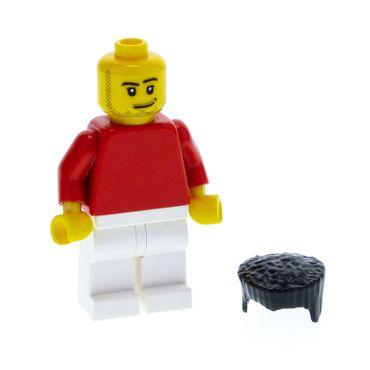1 x Lego System Figur Mann Sports Soccer Fussball Spieler Torso rot uni Arme rot Hose Beine weiss Bart Grinsen Haare flach schwarz soc122