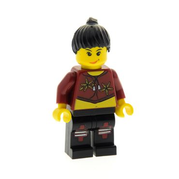 1 x Lego System Figur Frau Island Xtreme Stunts Sky Lane Torso dunkel rot Blumen Haare Zopf schwarz 6739 6737 6740 x104 973pb0058c01 ixs004