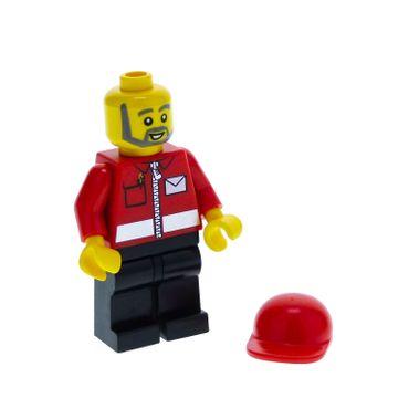 1 x Lego System Figur Mann Town City Post Bote Brief Träger Torso Jacke rot Brief Logo Reisverschluss Bart grau Basecap kurz rot Set 7687 post008
