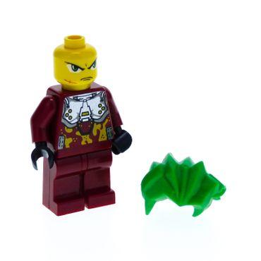 1 x Lego System Figur Mann Exo-Force Takeshi Torso dunkel rot bedruckt Tarn Anzug Camouflage Doppel Gesicht Haare grün 53982 Set 8113 exf022