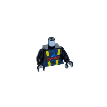 1 x Lego brick  Minifigs  Black Torso Aquazone Aquashark Blue Shark with Red 'X' Pattern / Black Arms / Black Hands 973pb0075c01