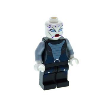 1 x Lego System Figur Star Wars Clone Wars Asajj Ventress Torso schwarz dunkel blau Kopf weiss violette bedruckt Augen blau sw318