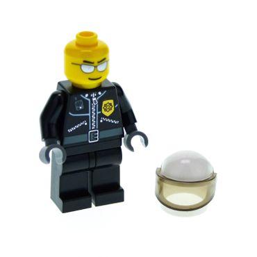 1 x Lego System Figur Mann Polizist Town City Torso schwarz Jacke Reißverschluss Polizei Marke gold Funkgerät Brille silber Motorrad Helm cty027