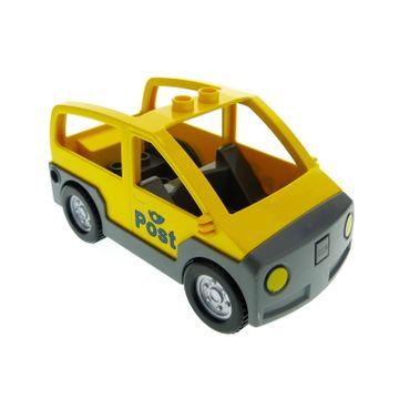 1 x Lego Duplo Auto gelb neu-dunkel grau Post Wagen Van für Set 4662 4354c02pb01