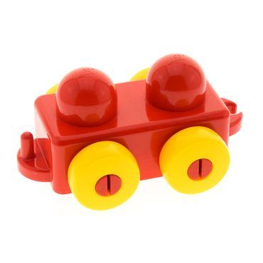 1 x Lego brick Red Primo Vehicle Wagon with Yellow Wheels and Tow Hitches for Set 2593 3650 31605c01