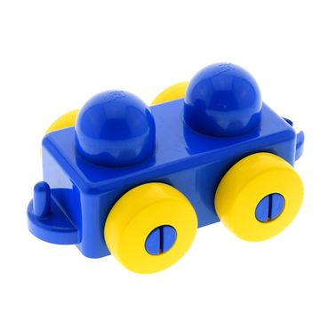 1 x Lego brick Blue Primo Vehicle Wagon with Yellow Wheels and Tow Hitches for Set 9003 2019 31605c01