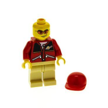 1 x Lego System Figur Mann Town City Torso rot Space Logo Reißverschluss Beine beige Sonnenbrille orange Basecap kurz rot cty129a