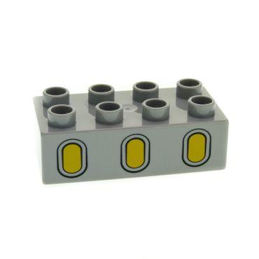 1 x Lego brick Light Bluish Gray Duplo, Brick 2 x 4 with 3 Yellow Oval Windows Pattern for Set Cars Siddeley 6134 3011pb034