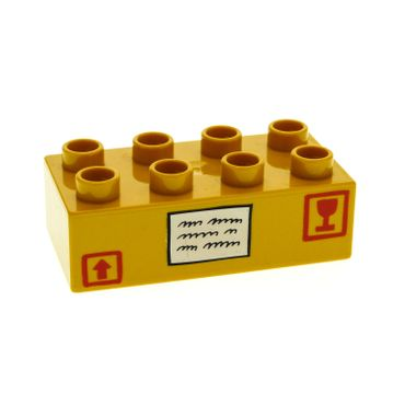 1 x Lego brick Dark Yellow Duplo, Brick 2 x 4 with Shipping Box with Arrow and Glass Pattern for Set 4685 4662 3011pb005