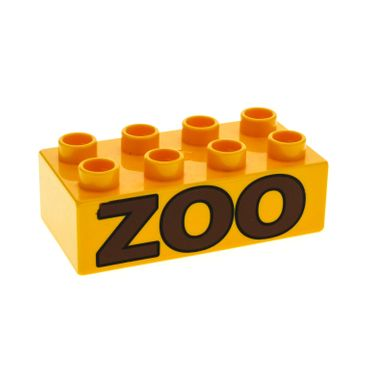 1 x Lego brick Bright Light Orange Duplo, Brick 2 x 4 with Brown 'ZOO' Pattern for Set 4968 4961 4960 3011pb017