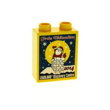 1 x Lego Duplo Motivstein Sonderstein Sammelstein gelb blau 1x2x2 bedruckt Legoland Discovery Centre Frohe Weihnachten 2014 76371pb005