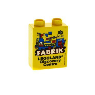 1 x Lego Duplo Motivstein Sonderstein Sammelstein gelb 1x2x2 bedruckt Legoland Discovery Centre FABRIK 2012 Typ2 4066pb422