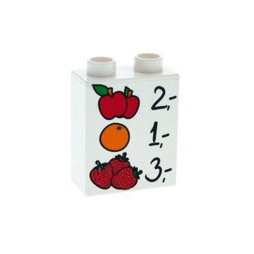 1 x Lego Duplo Motivstein weiss 1x2x2 bedruckt Preis Liste Obst Apfel Orangen Erdbeeren Bild Bau Stein 4066pb387