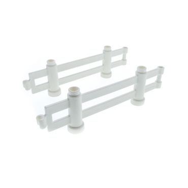 2 x Lego brick white Duplo Fence 1 x 10 x 2 Interlocking for Set 9233 9238 47548