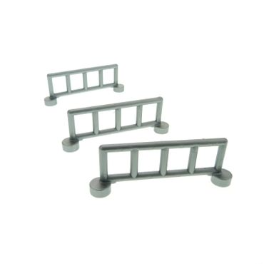 3 x Lego brick flat silver  gray Duplo Fence Railing with 5 Posts 2214