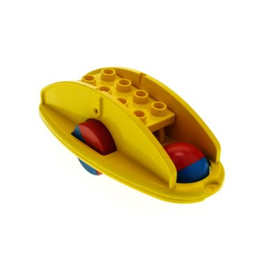 1 x Lego brick yellow  Duplo Rattle Rocking Bottom with Red/Blue Wheels x1316c01