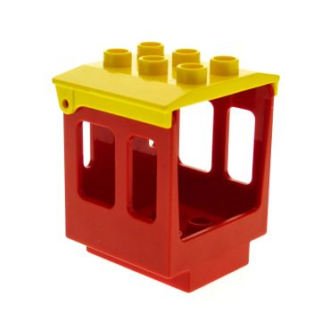 1 x Lego brick Red Duplo Train Steam Engine Cabin 3 x 3 x 3 1/2 with yellow Duplo Backhoe / Train Cabin Roof Set 6144 10597 10558 4543 92453
