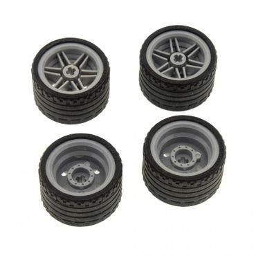 4 x Lego Technic Rad schwarz Räder 37x22  Felge neu-hell grau 30.4mm D. x 20mm Auto Fahrzeuge (56145 / 55978) 56145c03