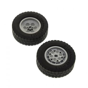 2 x Lego Technic Rad schwarz 62.4x20 Räder Felge neu-hell grau 62.4x20 S Technik  Auto Fahrzeuge Set 8421 8285 8436 (32020 / 32019) 32020c01