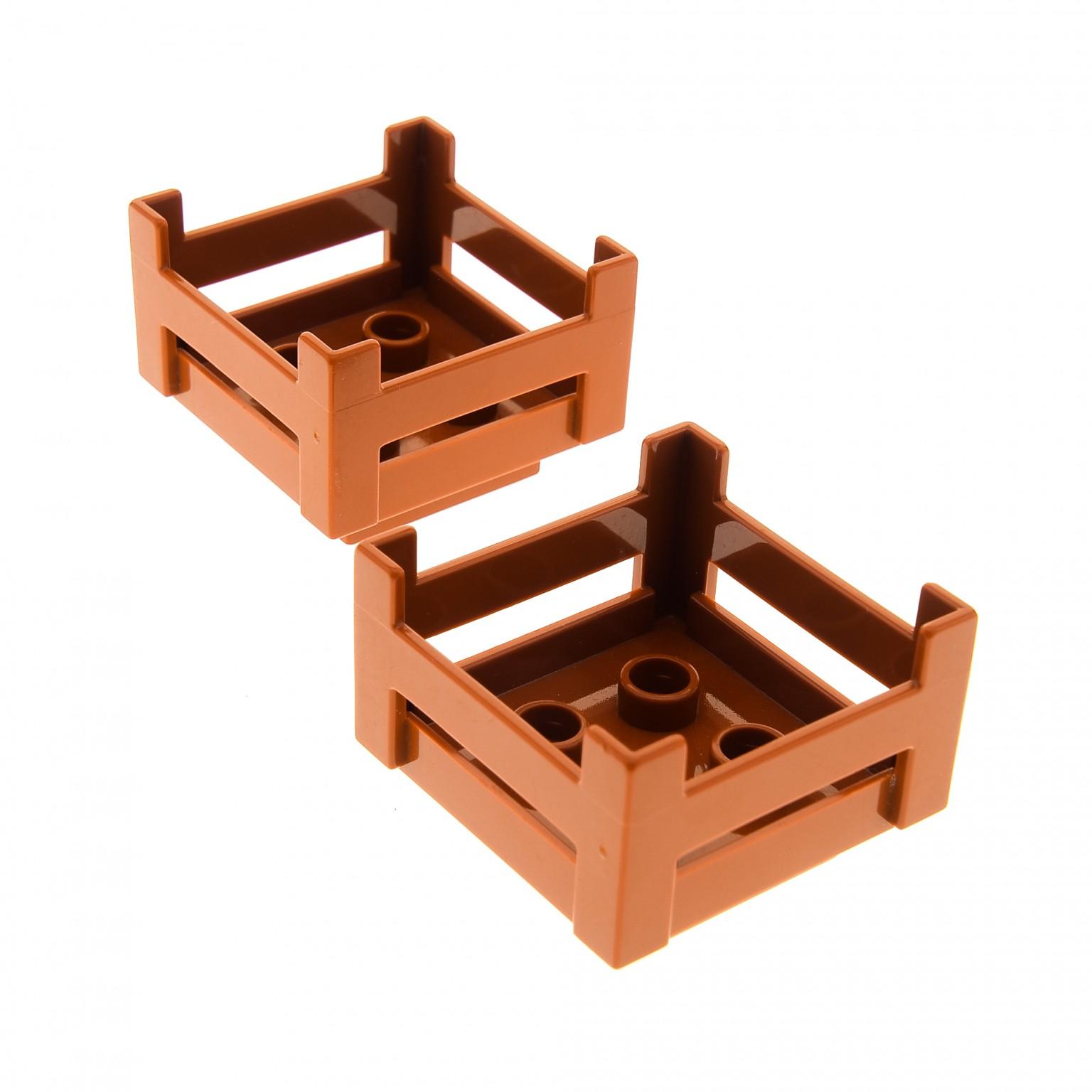 2 x lego duplo möbel kiste dunkel orange braun korb container