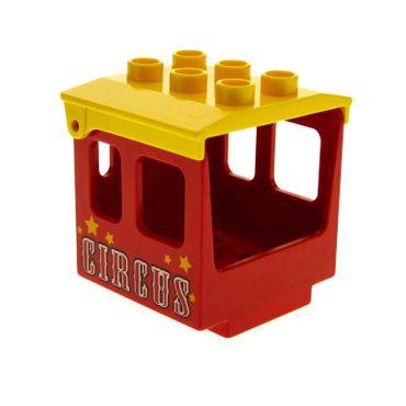 1 x Lego Duplo Aufsatz Zug rot 3x3x3 Kabine mit CIRCUS Aufdruck Führerhaus Dach gelb Lok Eisenbahn Zahlen Schiebe Zug Lok Set 5606 4543 4544pb05