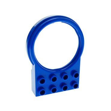 1 x Lego brick Blue Duplo Plate 2 x 4 with Round Tube Holder 42029
