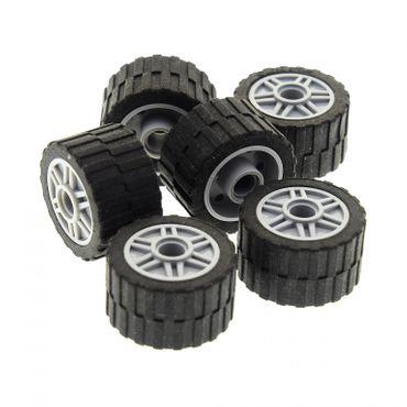 6 x Lego System Rad Reifen schwarz 24x14 Felge neu-hell grau 18mm D. x 14mm mit Pin Loch Technic Räder (55981 / 30648) 3064826 4299119 55981c01