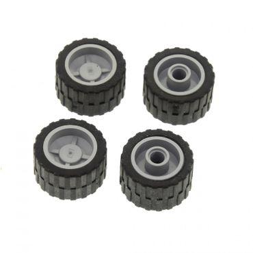 4 x Lego System Rad schwarz 24x14 Felge neu-hell grau 18x14 Reifen Räder komplett Auto 30648 3064826 4211646 30285c02