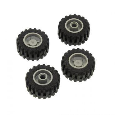 4 x Lego System Rad schwarz 30.4x14 Reifen Felge alt-hell grau 18mm D. x 14mm Technic Räder 30391 30285 3039126 4141735 30285c01