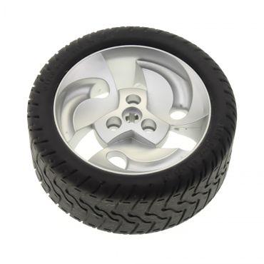1 x Lego Technic Auto Fahrzeug Rad schwarz 81.6x34 ZR Reifen Felge metallic silber mit 3 Wirbel Set 8448 32197 32196 32197c01
