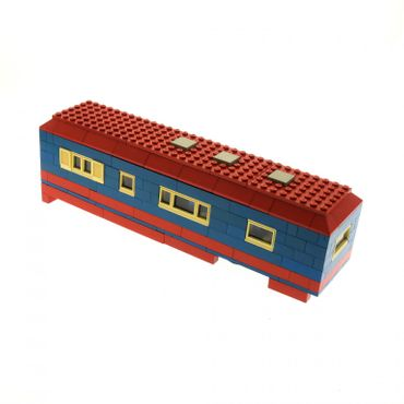 1 x Lego brick blue red Trailer Indefinite set yellowed ( model incomplete )