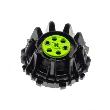 1 x Lego brick Black Wheel Hard Plastic with Small Cleats and Flanges with Lime Technic Wedge Belt Wheel (Pulley) 4538782 4185 64712