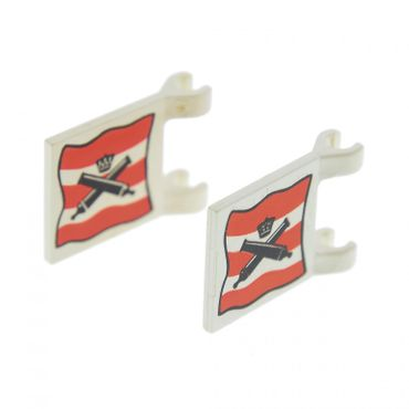 LEGO 6271 Flag 6 x 4 with Crossed Cannons over Red and White Stripe Pattern
