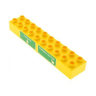 1 x Lego Duplo Basic Motiv Bau Stein gelb 2x10 bedruckt grün Truckville Radiator Springs Autobahn Schild Wegweiser für Set Cars 5816 2291pb04