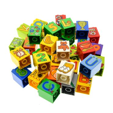 10 x Lego Duplo  brick 2x2x2 printed motif color randomly mixed e.g. Red blue yellow green figures letters fruits pattern 31110
