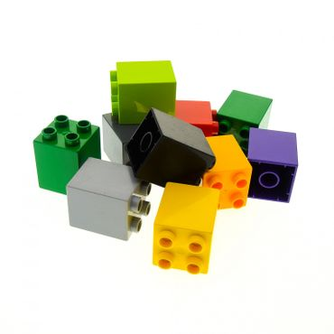 10 x Lego Duplo  brick 2x2x2 color randomly mixed e.g. Red blue yellow green white black 31110
