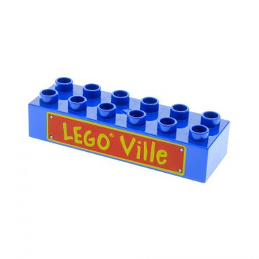 1 x Lego brick blue Duplo, Brick 2 x 6 with 'LEGO Ville' Text Pattern for Set 3778 5608 2300pb005