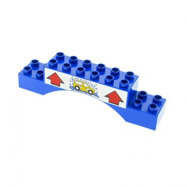 1 x Lego brick blue Duplo Brick 2 x 10 x 2 Arch with Car Wash and Arrows Pattern for Set 5696 4622249 51704pb04