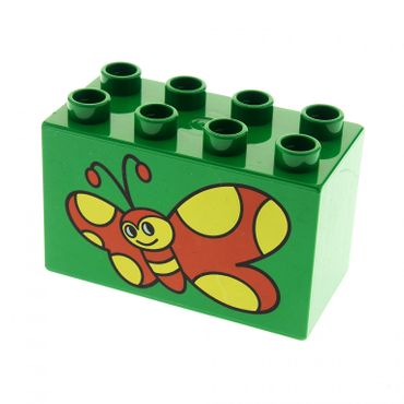 1 x Lego brick green Duplo, Brick 2 x 4 x 2 with Red Butterfly with Yellow Spots Pattern for Set 2269 2278 31111pb006