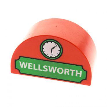 1 x Lego Duplo Halb Rund Motiv Stein rot 2x4x2 bedruckt WELLSWORTH grün Uhr für Set Eisenbahn 5555 31213pb007