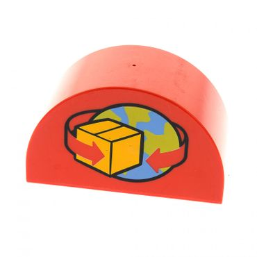1 x Lego brick Red Duplo, Brick 2 x 4 x 2 Curved Top with Box and Arrows and Globe Pattern 5609 31213pb018