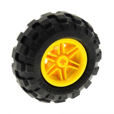 1 x Lego Technic Rad schwarz Räder 56x26 Felge gelb 30.4mm D. x 20mm Ballon Reifen Technik 55376 56145c02