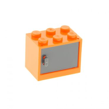 1 x Lego brick orange Container, Cupboard 2 x 3 x 2 with dark bluish gray Door 4533 4532a