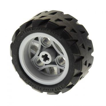 1 x Lego Technic Rad schwarz 43.2x22 H Felge neu-hell grau 30.4mm D. x 20mm Räder Technik 44308 44292c01