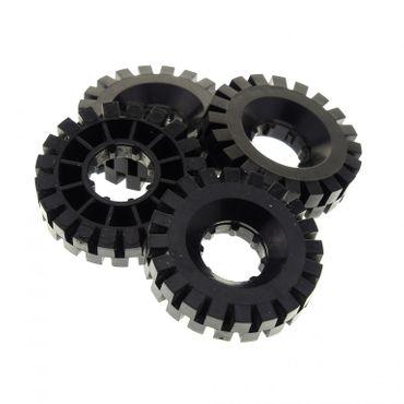 4 x Lego Technic Auto Fahrzeug Rad Reifen solo schwarz 17x43 Technik Räder Blacktron Classic Space 3804 9735 9786 6991 9684 363426 3634