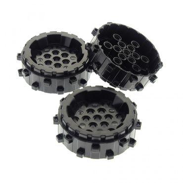 3 x Lego System Rad schwarz hart Plastik Rad mit Spikes Bohrkopf Power Miners für Set 8708 8190 5979 8059 8960 8964 4538781 64711