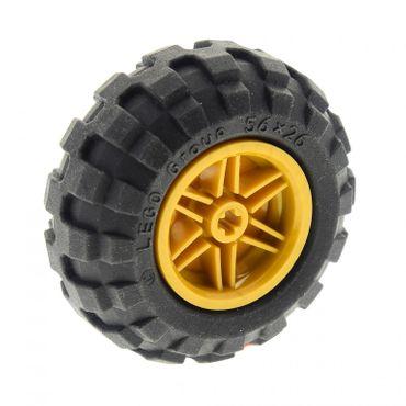 1 x Lego Technic Rad schwarz Räder 56 x 26 56x26 Felge perl gold 30.4mm D.x20mm Ballon Reifen Technik 55376 56145c02