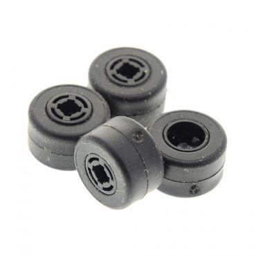 4 x Lego System Rad Felge schwarz 8mm D. x 9mm Reifen schwarz Räder komplett (30027b / 30028) 30027bc01
