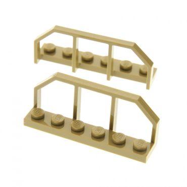 2 x Lego System Zaun dunkel beige tan 1 x 6 Gatter Zäune Geländer Ende Absperrung Set Star Wars 9496 75174 6583